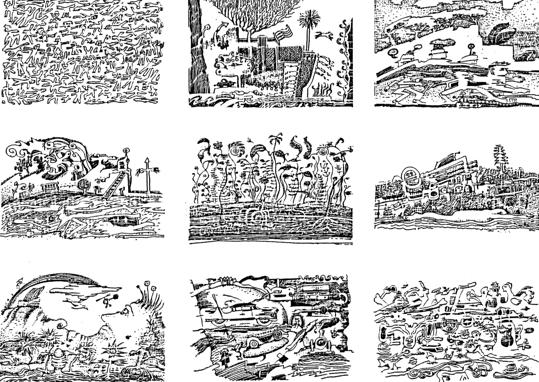Nege Inkleurprente vir Grootmense (Nine Pictures for Adults to Colour).